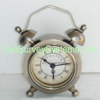 Table Clock Top Bells Silvered