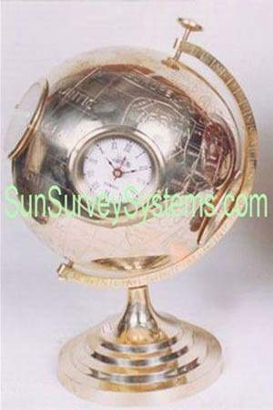 Clocks on Brass Globe
