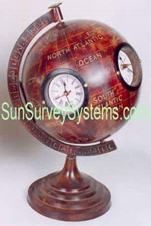 Clock on Globe Antiqued